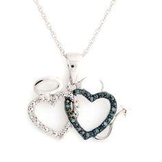 Blue & White Diamond Angel & Devil Hearts Pendant in Sterling w/ 18'' Chain Q267 #HeartPendant