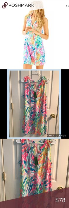 {LP} Sleeveless Essie Dress Sparkling Sands NWT Lilly Pulitzer Sleeveless Essie Dress Style 20918 Multi-Color Sparkling Sands  Size L. 60% Cotton, 40% Modal. Lilly Pulitzer Dresses Mini