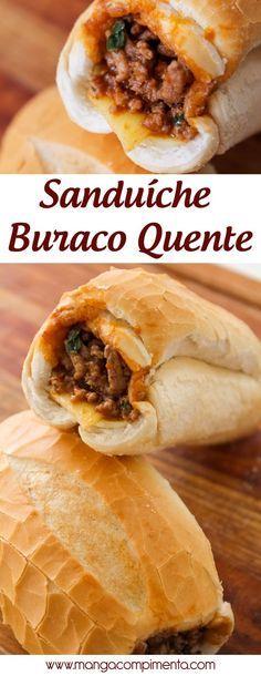 Sanduíche Buraco Quente - lanche bem recheado para matar a fome! #sanduíche #lanche #comida #receita #carne
