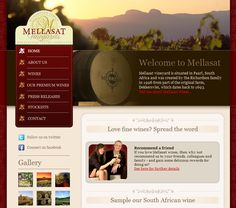 The website for Mellasat Vineyards, a producer of South African wine, showcases typical vertical primary navigation, with a relatively small number of top level menu items, no submenus, and left positioning.