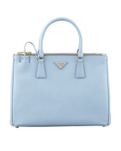 Saffiano Small Double-Zip Executive Tote Bag, Blue by Prada at Neiman Marcus.