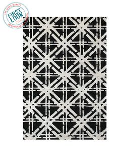 New at #lvmkt = Feizy Rugs' new black/white Bamboo Lattice design. The wool & art silk blend results in a luminous sheen and great hand.