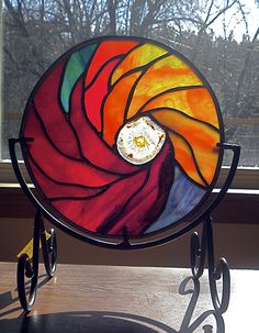 Stained glass mandala with geode on display stand, by Jannie Ledard Glass Art Faux Stained Glass, Stained Glass Designs, Stained Glass Projects, Stained Glass Patterns, Stained Glass Windows, Fused Glass, Mosaic Glass, Leaded Glass, My Glass