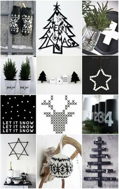 Black and white Christmas decorations Black Christmas, Noel Christmas, Scandinavian Christmas, All Things Christmas, Winter Christmas, Christmas Crafts, Christmas Mantles, Victorian Christmas, Modern Christmas