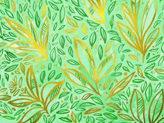 leaf pattern with gold leaf and watercolor