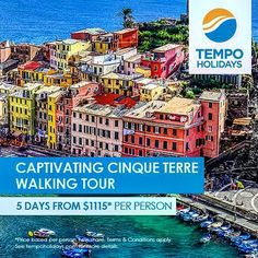 Here is a great place in Italy for a walking tour Cinque Terre. The idea is to walk from one village to another village over a few days. There are 5 villages.