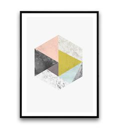 Triangle print, geometric poster, Watercolor print, Marble decor, Pink and gray, nordic design, minimalist abstract, modern art, wall print