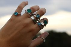 Handmade Sterling Silver Stone Ring by TideJewelllery on Etsy