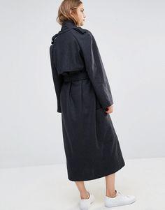 House Of Sunny dark grey long trench coat