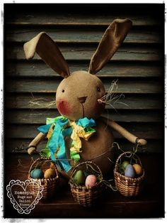 Bunny Rabbit with Basket Garland ... by Homespun Hugs and Calico Kisses Primitives