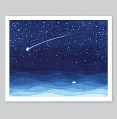 Giclee Print watercolor painting shooting star falling star