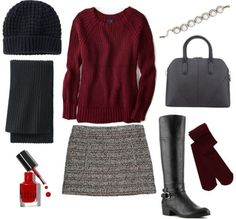 Tweed skirt and sweater outfit