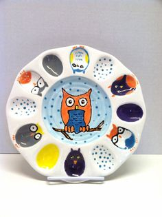 Hey, I found this really awesome Etsy listing at http://www.etsy.com/listing/161114185/ceramic-deviled-egg-owl-plate-owl-egg