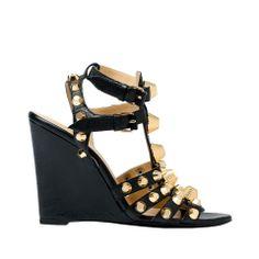 Balenciaga Giant Gold Wedge Gladiators Balenciaga - Sandal Women color Black - Shoes Balenciaga