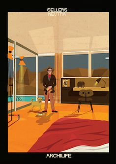 Archilife print series by Federico Babina: film stars in famous architect-designed homes