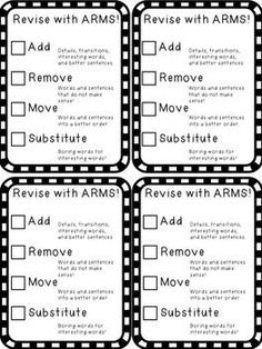 Free resource: ARMS Revision Checklist! Help students revise their work using the ARMS acronym: Add, Remove, Move, and Substitute. :)
