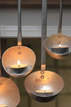 Piccolo - vintage restaurant soup ladles are used to house tea lights to create an inviting mood Vintage Restaurant, Restaurant Design, Restaurant Ideas, Christmas Inspiration, Kitchen Lighting, Candle Lighting, Unique Lighting, Tea Lights, Diy Projects
