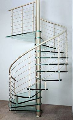 Escalera de caracol metalica con cristal