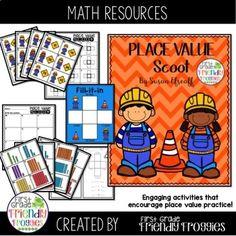 Place Value - Building Numbers - Construction Theme- Scoot! Kindergarten Lesson Plans, Kindergarten Activities, Kindergarten Teachers, Enrichment Activities, Math Resources, Classroom Resources, First Year Teachers, Construction Theme, Reading Intervention