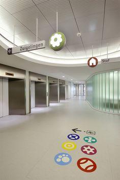 Emma Children's Hospital EKZ, Netherlands Medical Design, Healthcare Design, Environmental Graphic Design, Environmental Graphics, Wayfinding Signage, Signage Design, Hospital Signage, Hospital Architecture, Floor Graphics