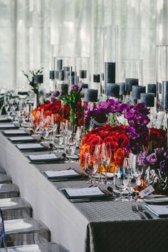 Geo and Jay, Beacon, New York Wedding, Colorful Reception Centerpieces