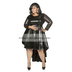 Black Celine Sequin High-Low Dress