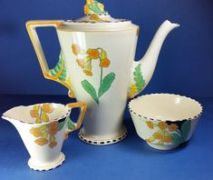 Pottery Vintage Alfred Meakin Coffee Set 4x Cups & Saucers Coffee Pot Yellow Brown Sturdy Construction