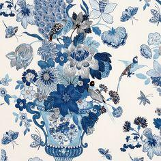 Lansdale Bouquet   173073 in Porcelain   Schumacher Fabric
