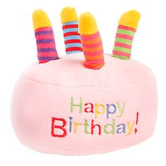 """Top Paw® """"Happy Birthday"""" Cake Dog Toy - Plush, Squeaker at PetSmart. Shop all dog plush toys online Elmer The Elephants, Dog Ages, Types Of Dogs, Happy Birthday Cakes, Dog Supplies, Friends In Love, Pet Toys, Your Pet, Puppies"""