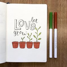 Bullet journal quote page, plant drawing, lettering. | @bullet.rookie