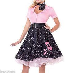 8f422d5100 Halloween Costume 1950S Grease Rock N Roll Hop Polka Dot Poodle Fancy Dress  Uk Disfraces Mimo