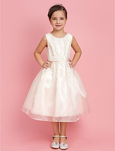 A-line/Princess Jewel Tea-length Organza Flower Girl Dress W... – AUD $ 121.30