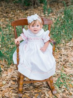 Madeline White Girls Easter Dress with Pink Ribbons and Hand Smocking White Silk Dress, Girls White Dress, White Girls, Navy And White, Girls Smocked Dresses, Girls Easter Dresses, Little Girl Dresses, Flower Girl Dresses, First Communion Dresses