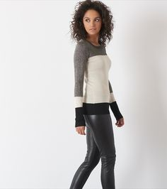 DYNAMITE - Shiny Colorblock Sweater