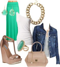 """Green maxi skirt"" by crepuscule973 ❤ liked on Polyvore"