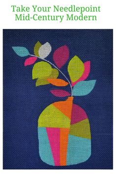 Mid century modern needlepoint or a vase. DIY needlework that is easy to stitch.