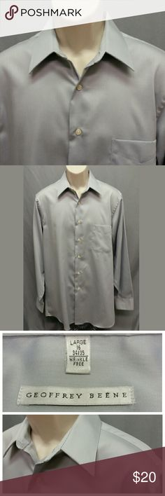 """GEOFFREY BEENE Mens (L) Dress Shirt (Wrinkle Free) Excellent condition hardly worn looks almost new! Elegant look and luxurious feel soft Wrinkle Free sateen material. Elegant gray color. Dress it up or go casual with jeand this is a gorgeous shirt!  Long sleeves.   Size: 16 34/35 Material: 55% Cotton, 45% Polyester  Chest (armpit to armpit): 23 1/4"""" Full Length (base of collar to bottom of shirt): 33 1/2"""" Sleeve (outer shoulder seam to bottom of cuff): 25 1/2"""" Shoulders (outer seam to outer…"""
