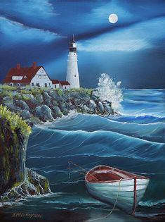 Lighthouse Painting, Lighthouse Pictures, Pictures To Paint, Nature Pictures, Beautiful Pictures, Ocean Scenes, Nature Scenes, Sea Art, Landscape Drawings
