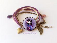 """Bracelet bronze cabochon """"Geisha à l'éventail"""" violet et rose : Bracelet par manegefantome"""