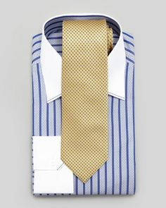 Contrast Collar Dash-Striped Dress Shirt & Micro-Medallion Silk Tie  by Stefano Ricci at Neiman Marcus.