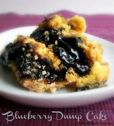 Blueberry Dump Cake: 1 stick butter, 1 box yellow cake mix, 21oz can of pie filling. Heat oven to 350; if using a glass dish 325. Spread pie filling in bottom of 9x13 dish. Sprinkle cake mix over the top of the filling. Slice the butter and place on top of cake mix. Place in oven and bake for 1 hour. Let cool for 5 minutes before serving...with ice cream.