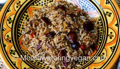 warm summer paella #vegan (use brown rice, no oil)