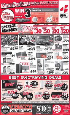 Straits Times Ad - 5 Dec 2014 -Buy Today Delivery Today -BEST Electrifying Deals -50% Off Warranty Fee -Package Rewards - Free BEST Voucher Worth Up To $120 -8% Off - 2nd item (red tag)   Find out more here: https://go.bestdenki.com.sg/best-adverts/press-ads-5-dec-2014