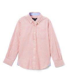 Coral Gingham Button-Up - Toddler & Boys