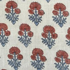 Laurette in Coral Dust/Lapis by Bastideaux #bastideaux #linen #floral #blue #red #designinspiration #textile #fabric #clothandkindinteriordesign