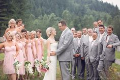 large party wedding pose ranch wedding