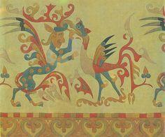 Fragment of felt carpet found in Pazyryk, Altay mountains. First millenium B.C.