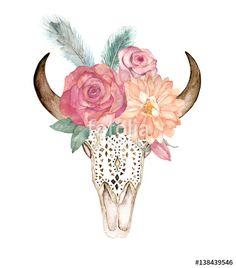 "Скачивайте роялти-фри фото ""Watercolor isolated bull's head with flowers and feathers on white background. Boho style. Ornamental skull on whitebackground for wrapping, wallpaper, t-shirts, textile, posters, cards, prints"", сделаную natikka по самой низкой цене на Fotolia.com. Полистайте наш банк изображений и найдите идеальную стоковую фотографию для вашего маркетингового проекта!"