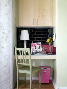 Look for ways to utilize small spaces, like turning a nook into a home office.