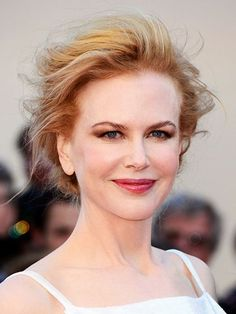 Nicole Kidman brown smoky eye, mauve lipstick and windswept updo   allure.com